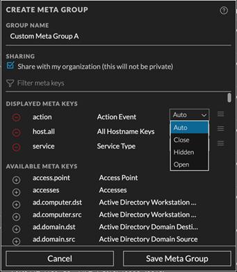 meta key display options in the Create Meta Group dialog