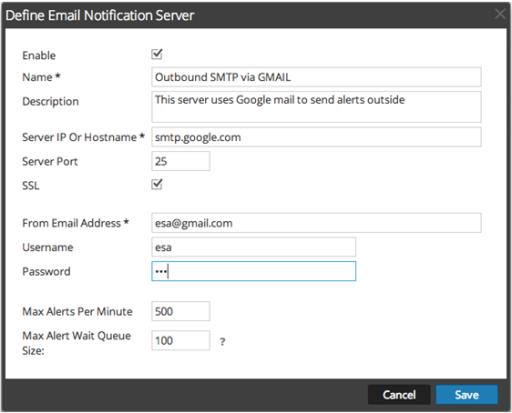 Define Email notification server dialog box