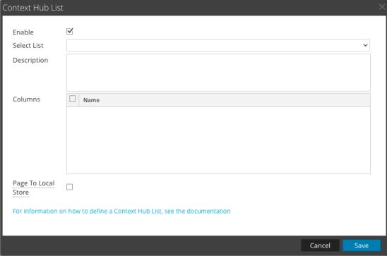Context Hub List dialog for adding new enrichment source