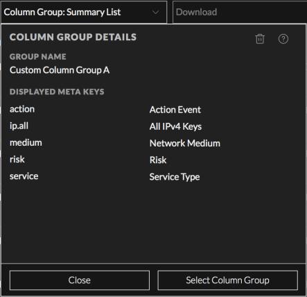 the Column Group Details dialog for a custom column group