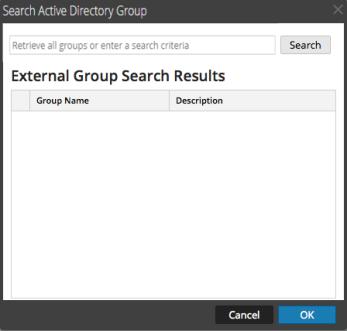 Search External Groups dialog blank