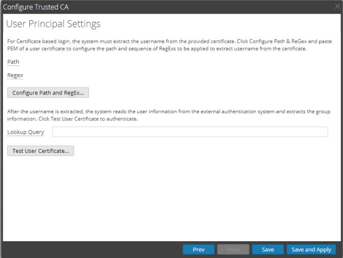 User Prinicapl settings window