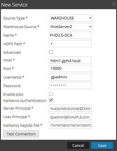 Kerberos Authentication screen