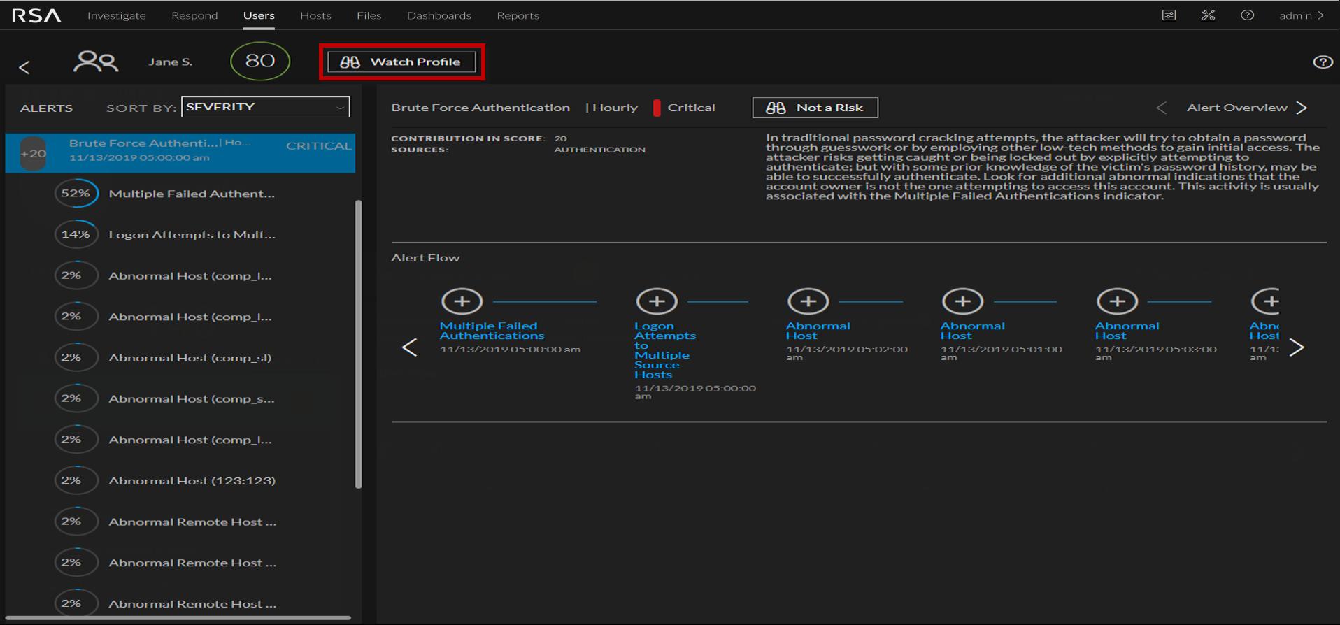 User Profile view, Watch Profile button