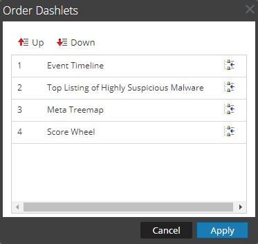 Order Dashlets dialog