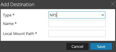 Add NFS destination