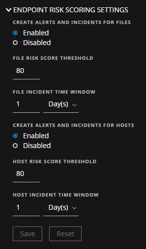 Risk Scoring Settings section
