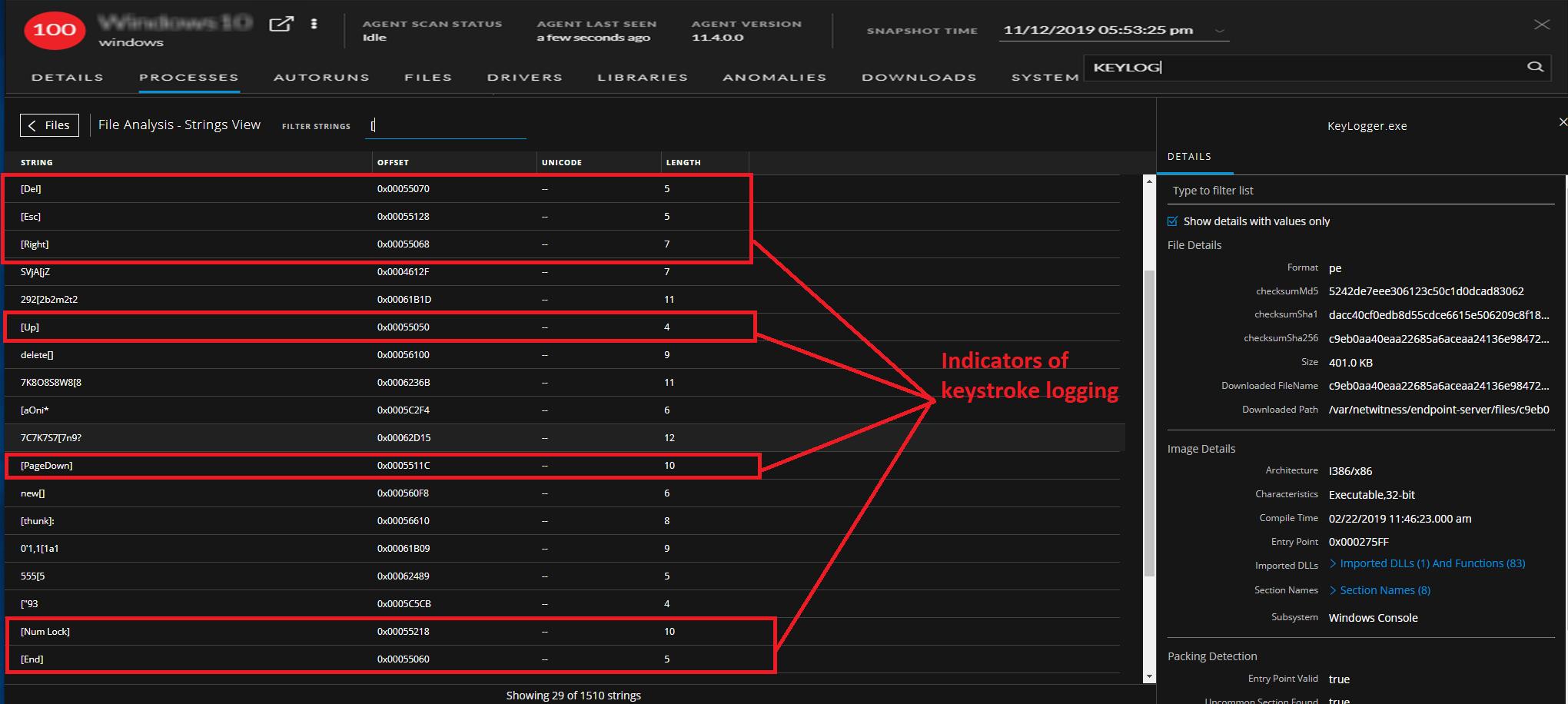 Indicators of keystroke logging