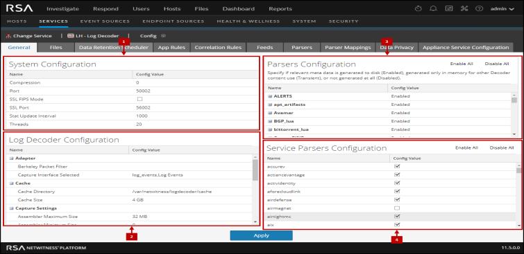 Services Config View - Log Decoder