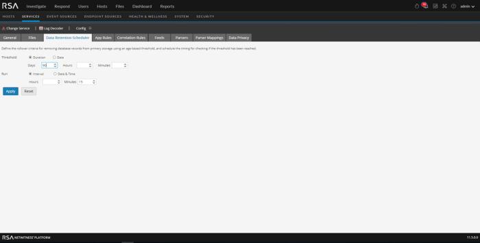 Decoder Data Retention Scheduler tab