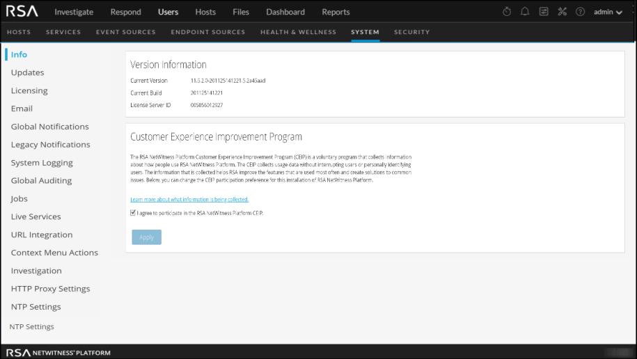 License Version Information screen is displayed.
