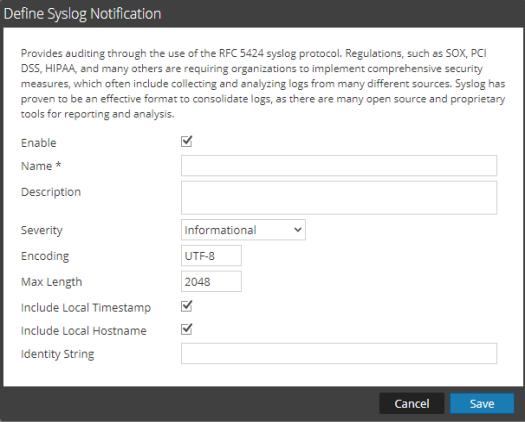 Syslog notification dialog box