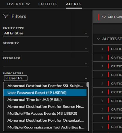 Indicators displayed in the Alerts tab