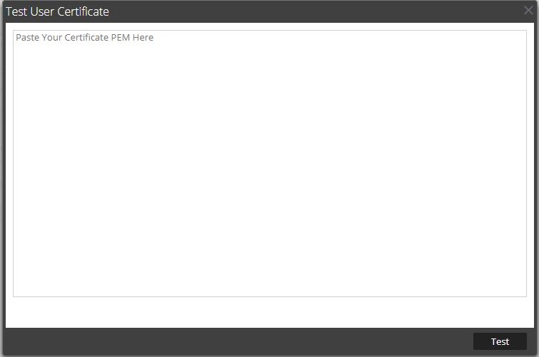 Test user Certificate dialog