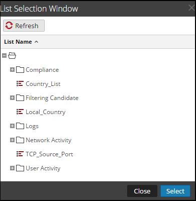 List Selection Window