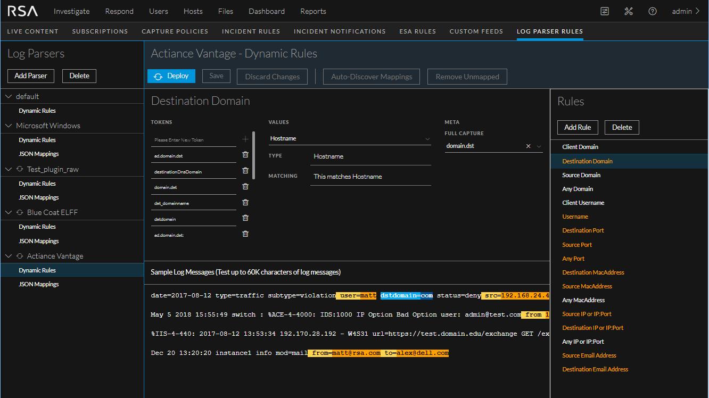 log parser sample log messages highlighted