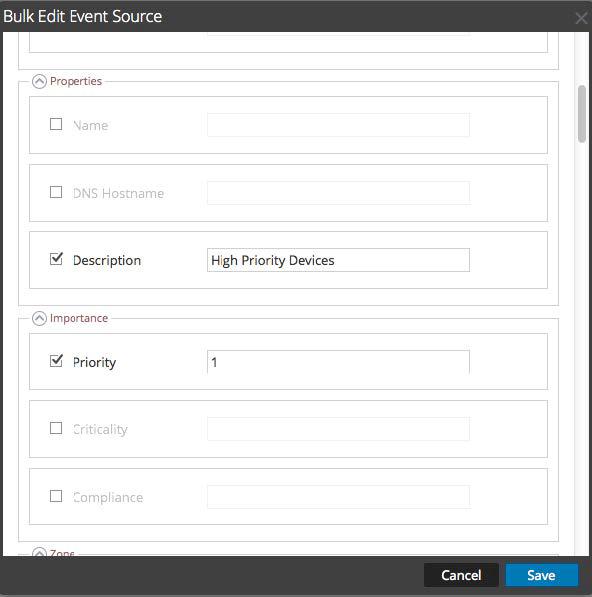 Bulk edit Event Source dialog is displayed.