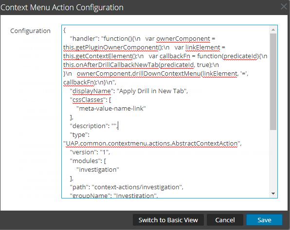 Context menu Configuration dialog box