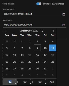 Custom Date Range option in the filter