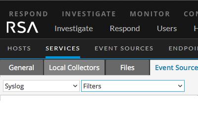 Event Sources tab shows Filters drop-down menu.