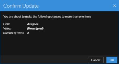 Confirm Update dialog for Unassign