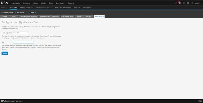Decoder Data Privacy tab