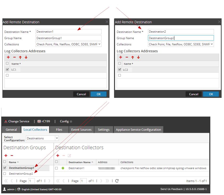 Add Remote Destination dialog shows a separate destination for each Local Collector.