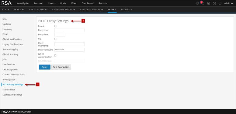 HTTP proxy setting panel