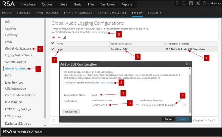 Global audit configuration panel under system tab