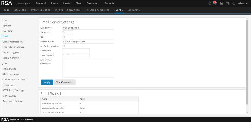 Email Server Setting dialog box