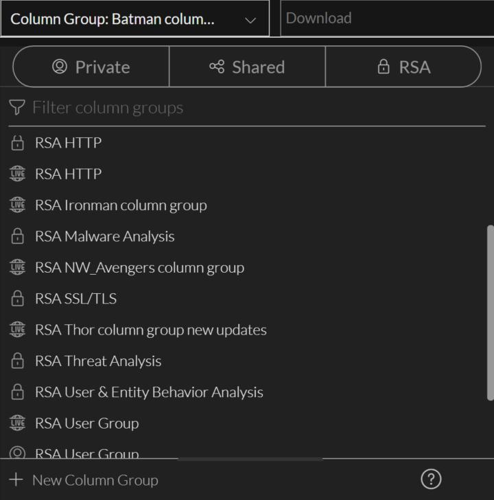 the Version 11.5 Column Group menu